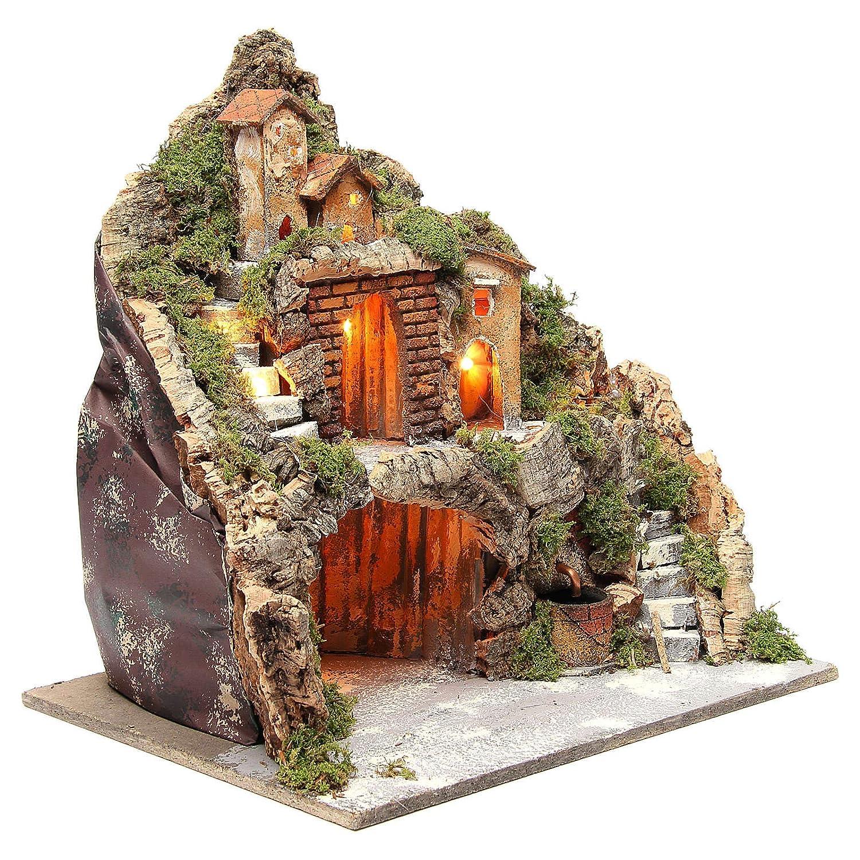 Cascada y Escalera para bel/én 40x40x30 cm Holyart Pueblo Iluminado con caba/ña