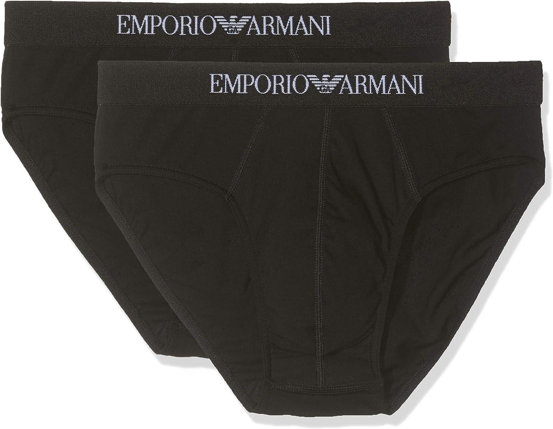 TALLA Large. Emporio Armani 111321CC722, Calzoncillos Slip Hombre, pack de 2