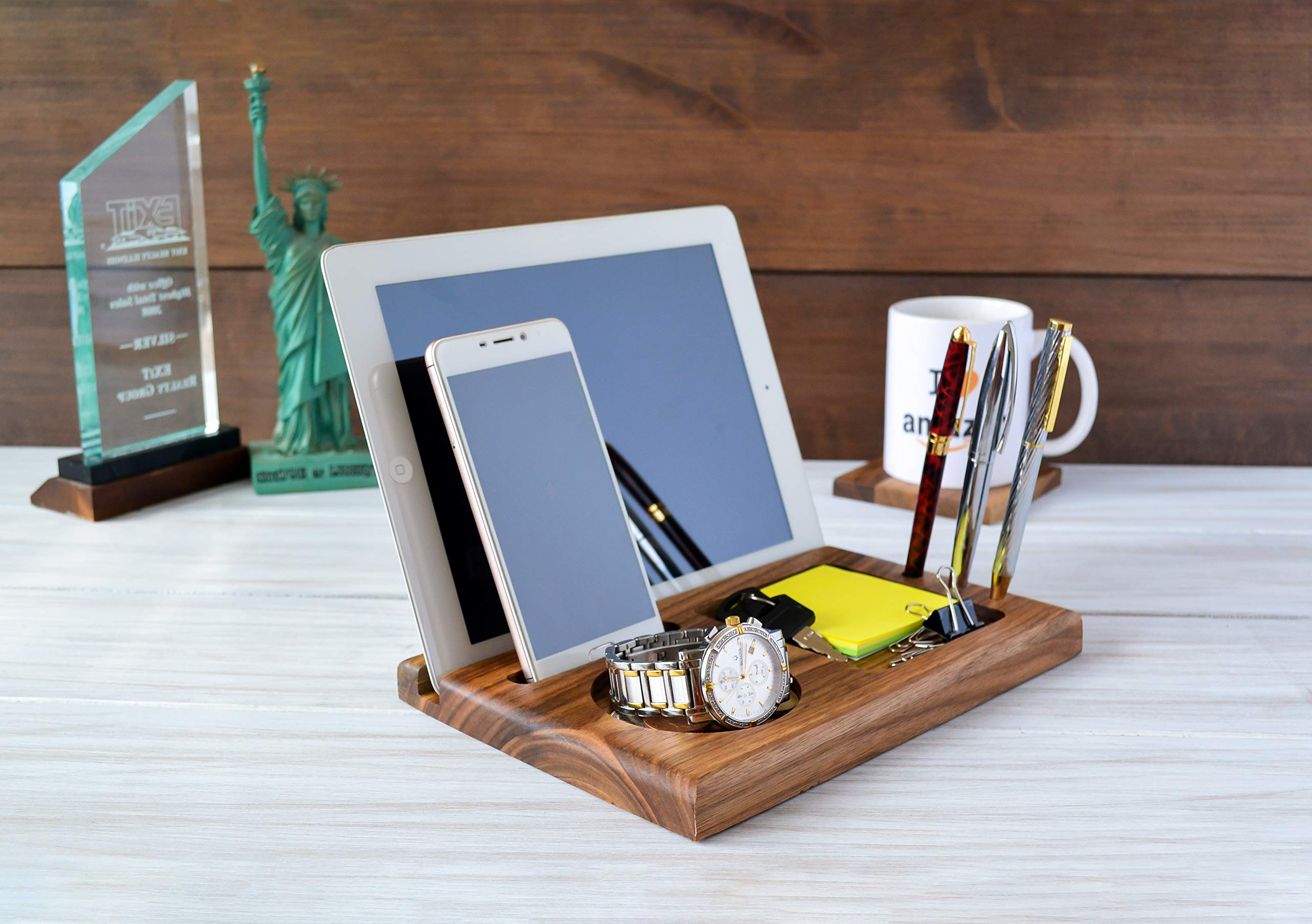 Wood-Phone-Docking-Station-with-Key-Holder-Wallet-Stand-and-Watch-Organizer-Mens-Gift-Iphone-Android-iPhone-6s-plus-6s-6-plus-6-5-5s-4-Samsung-Galaxy-For-Daily-Use-Handmade