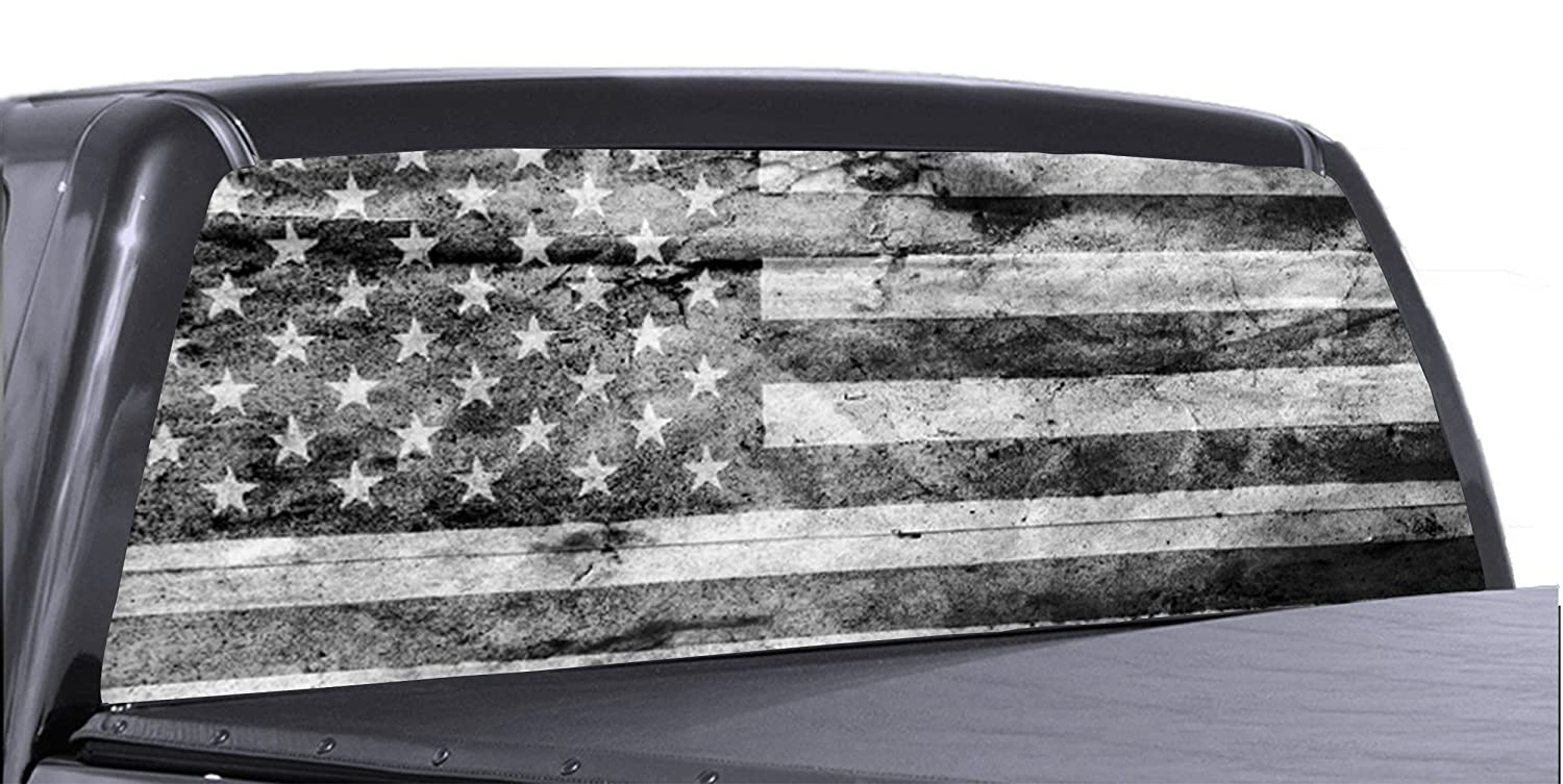 Amazon com 66 x 25 black and white american flag distressed truck rear window tint perforated vinyl graphic automotive