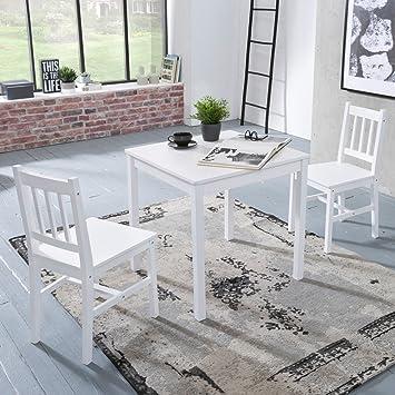 FineBuy Esszimmer Set Emilio 3 Stück Kiefer Holz Weiß Country Style 70 X 73  X 70