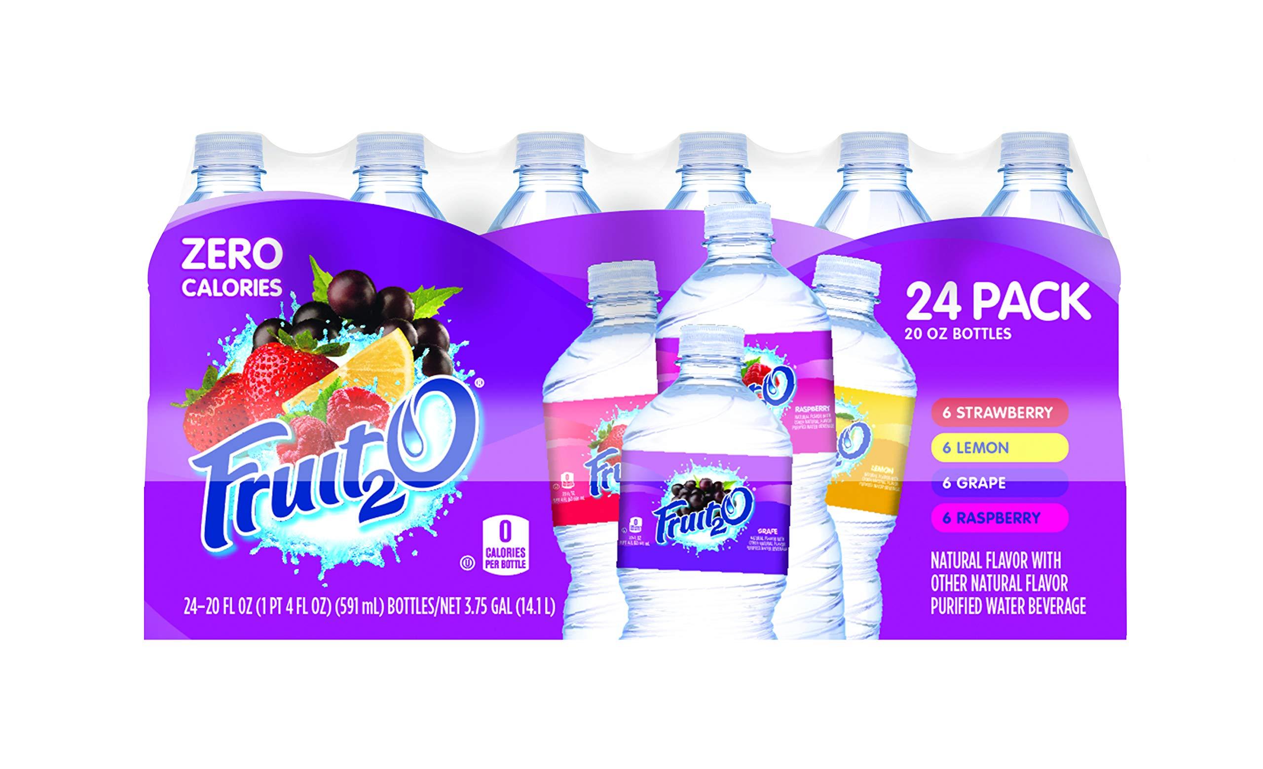 Fruit2O, Raspberry, Strawberry, Lemonade, Grape, 20-Ounce Bottles (Pack of 24)