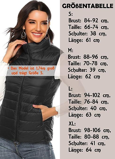 INSTINNCT Damen Weste mit Stehkragen Gef/üttert Ultraleicht Daunenjacken Winter Warm Verstaubar