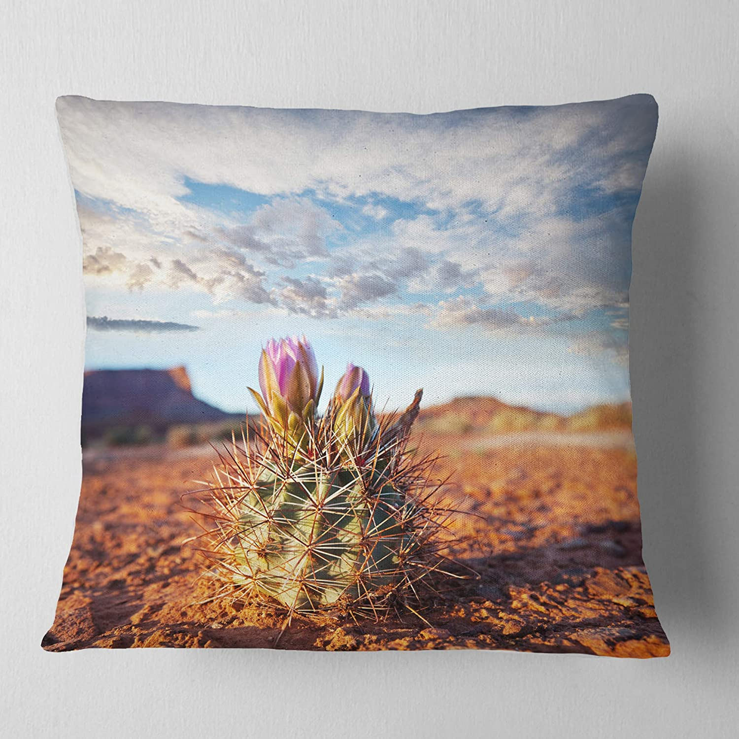 x 26 in Designart CU12410-26-26 Large Cactus Under Cloudy Sky Floral Cushion Cover for Living Room Sofa Throw Pillow 26 in Insert Printed On Both Side in
