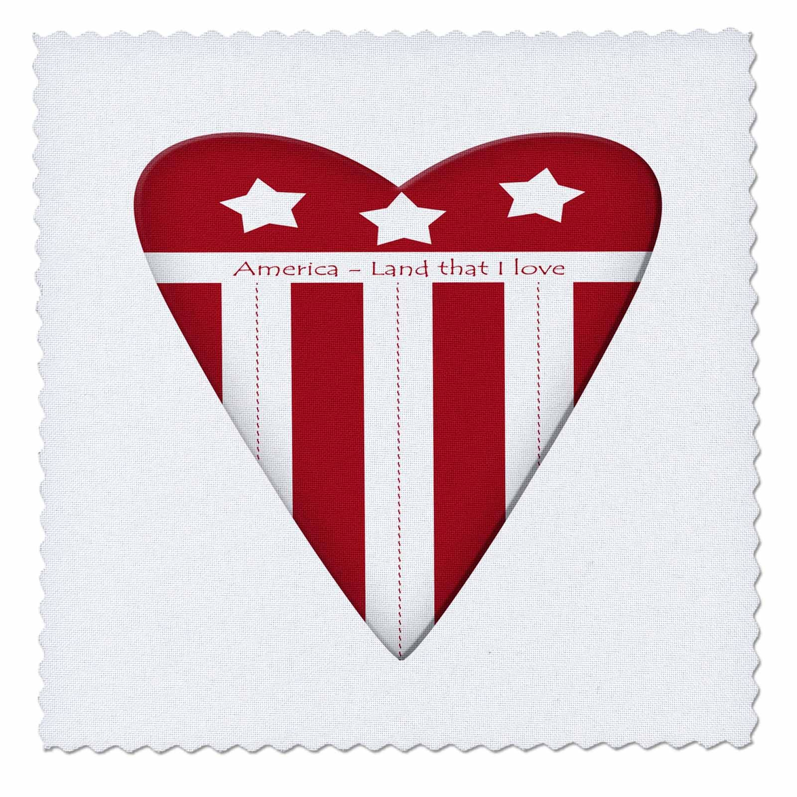 3dRose Anne Marie Baugh - Patriotic - America Land That I Love Red and White Americana Heart Illustration - 20x20 inch quilt square (qs_267631_8) by 3dRose (Image #1)