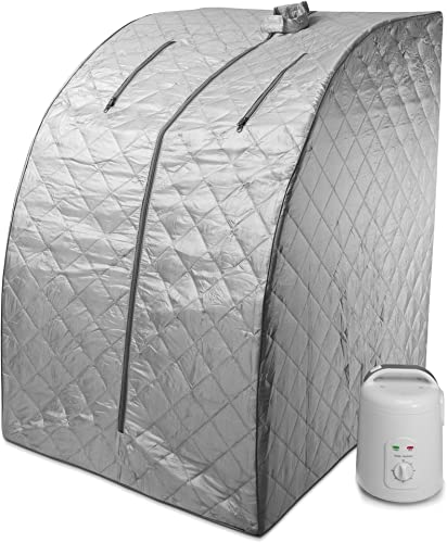 Durherm Portable Personal Therapeutic Spa Home Steam Sauna Weight Loss Slimming Detox Gray Outline