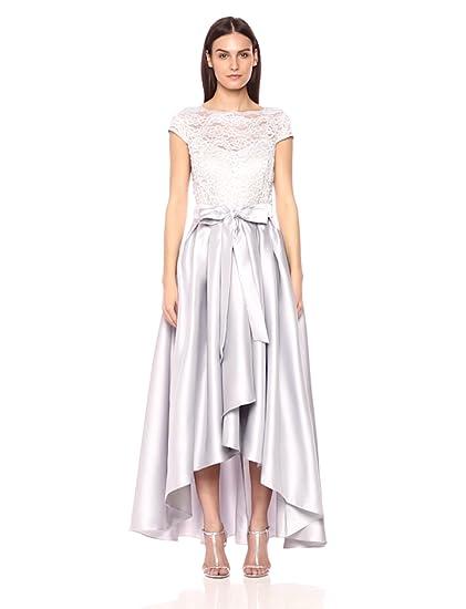5ef0e0218b276 Ignite Women s Cap Sleeve Lace Hi Lo Mikado Gown at Amazon Women s ...