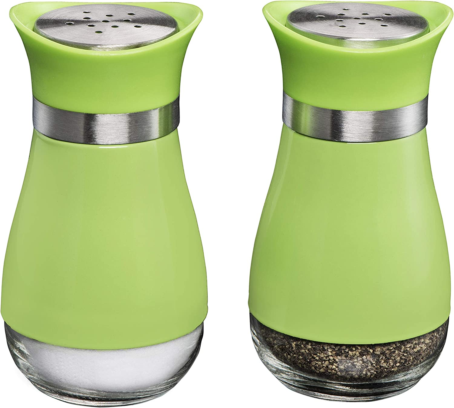 MITBAK Salt and Pepper Shakers (2-Pc. Set) Elegant w/Clear Glass Bottom | Compact Cooking, Kitchen and Dining Room Use | Classic, Refillable Design