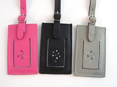 eb5e69e2170 Swarovski Crystal Leather Multi-Color Luggage Tags ~ Set of 3: Amazon.ca:  Luggage & Bags