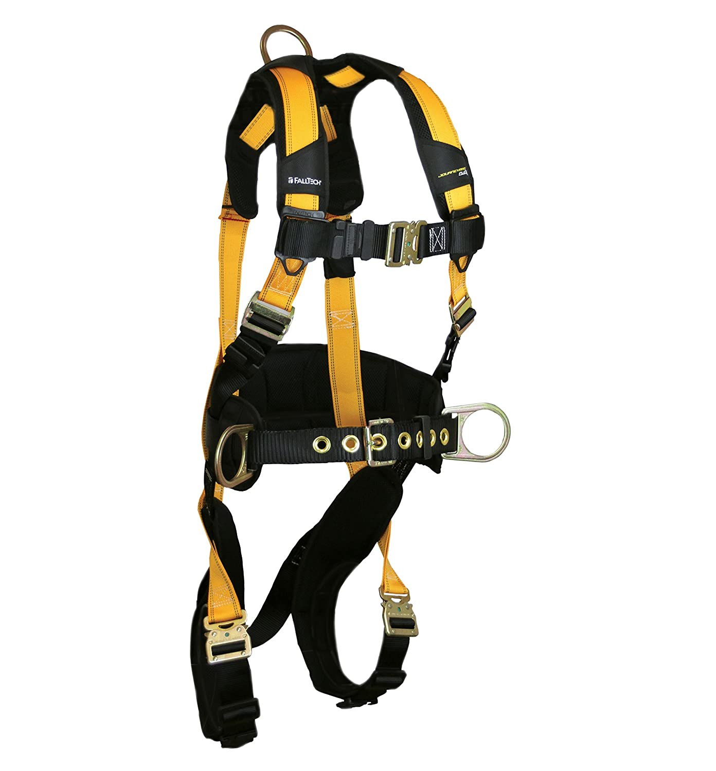 FallTech 7035QCL Journeyman, Belted Construction FBH - 3 D-Rings, Back and Side, Quick Connect Legs and Chest, Durable 6 Waist Pad, Large, Yellow/Black by FallTech B014DQZGIM