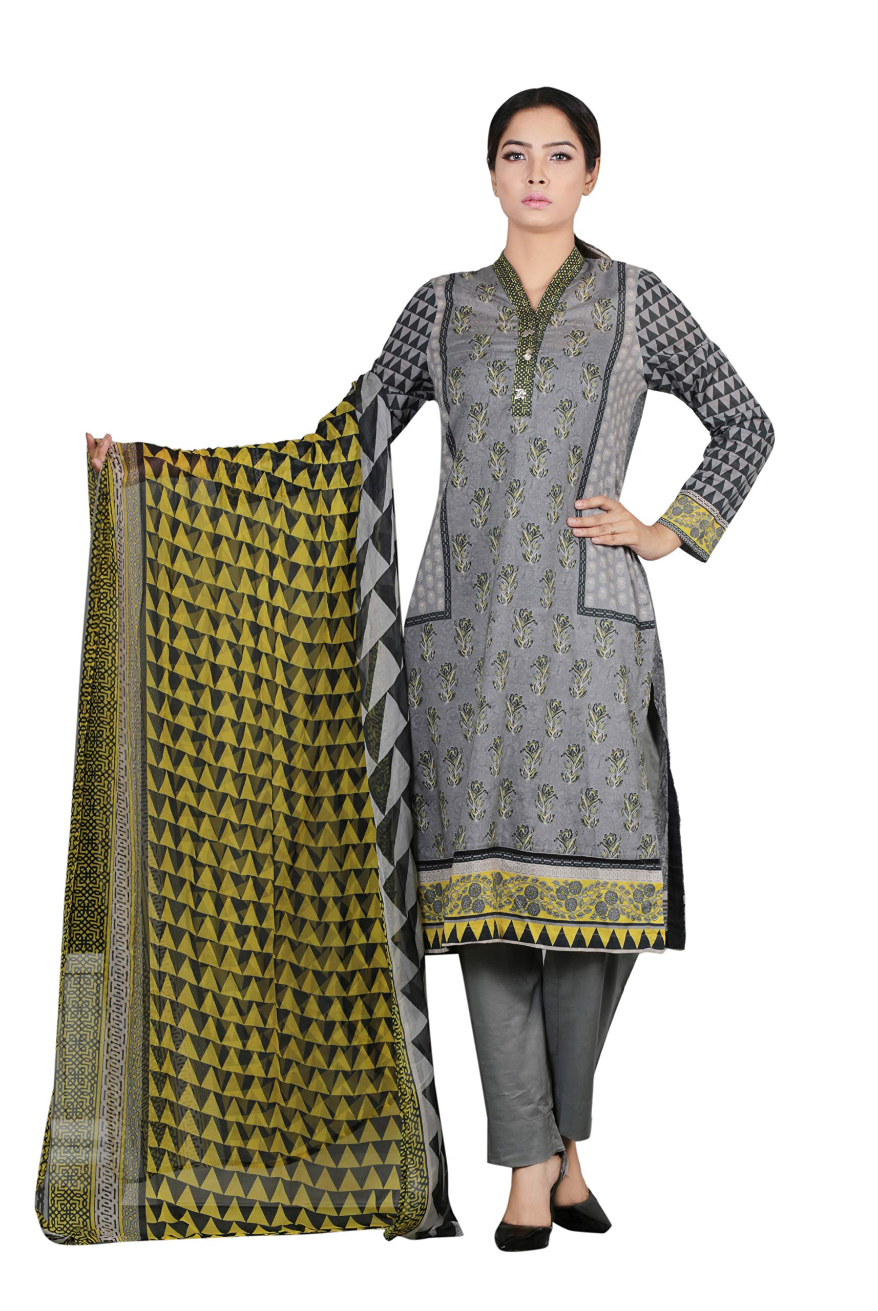 YELLOW 3pcs Moon Rock Block Printed Kurti with Chiffon Dupatta and Solid Color Trouser Ready to wear