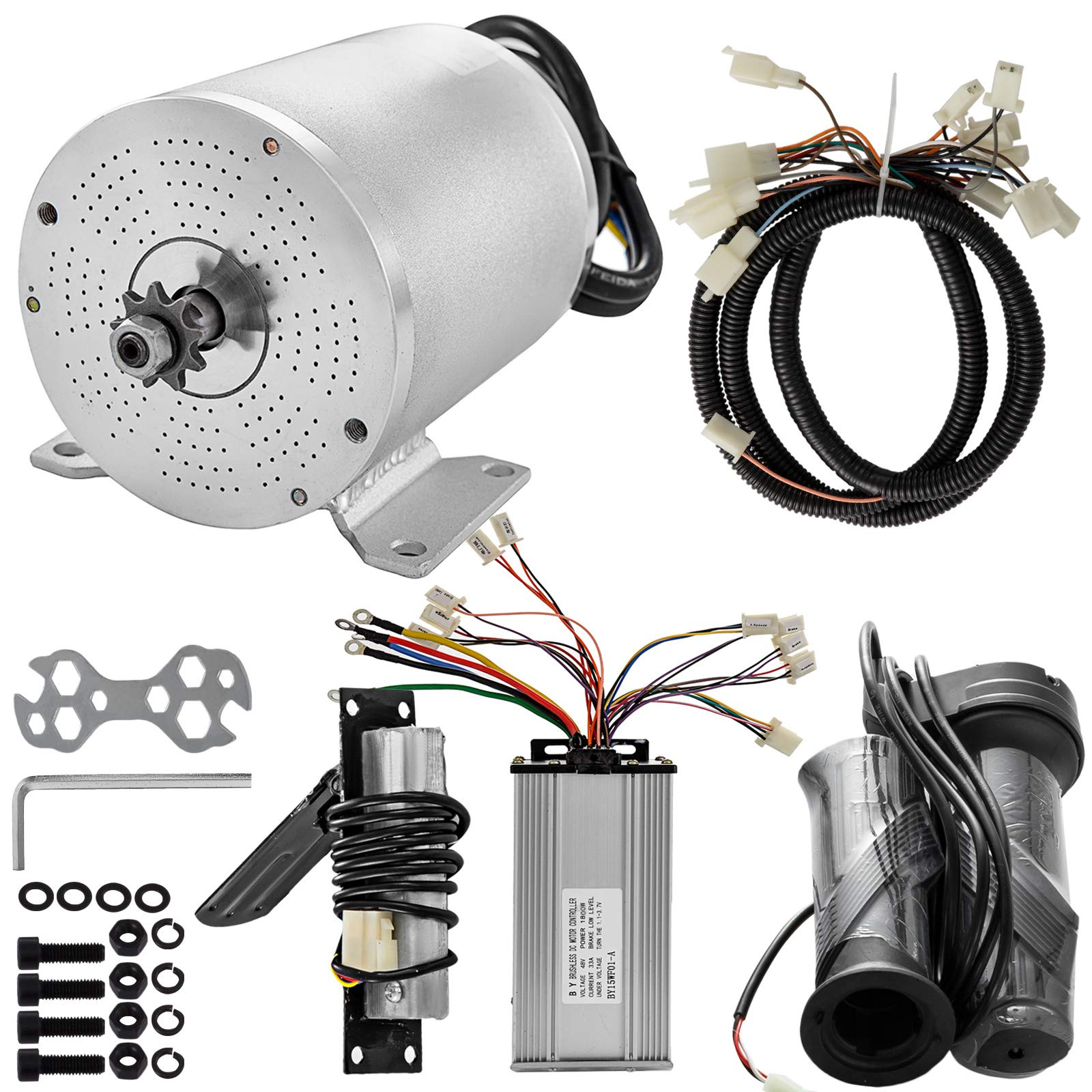 Mophorn Electric Brushless Motor 48V DC 1800 Watt with Controller & Handles & Wiring Harness 9 Tooth 8 Chain Sprocket and Mounting Bracket for Go Karts Scooters & E-Bike