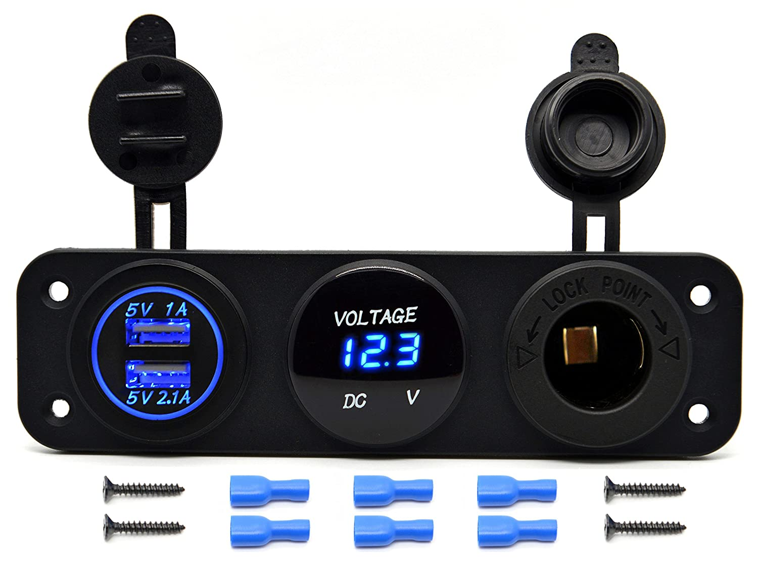 Cllena Triple Function Dual Usb Charger Led Voltmeter Shows A Circuit With Cell Lamp And The Is 12v Outlet Power Socket Panel Jack For Car Boat Marine Digital Devices Mobile Phone