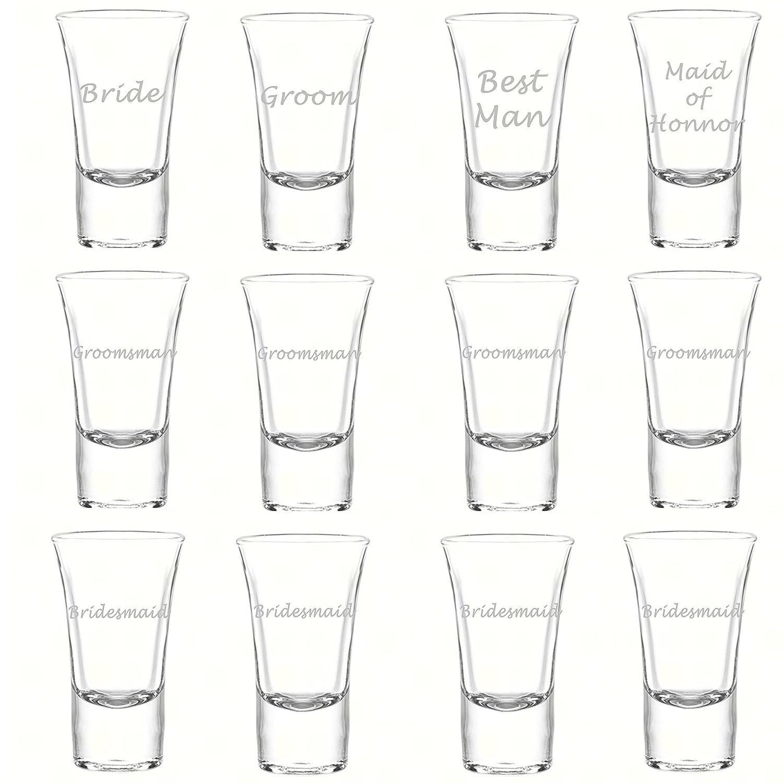 Amazon.com | Etched Glass Wedding Party Shot Glasses (1 dz), 1.75oz ...