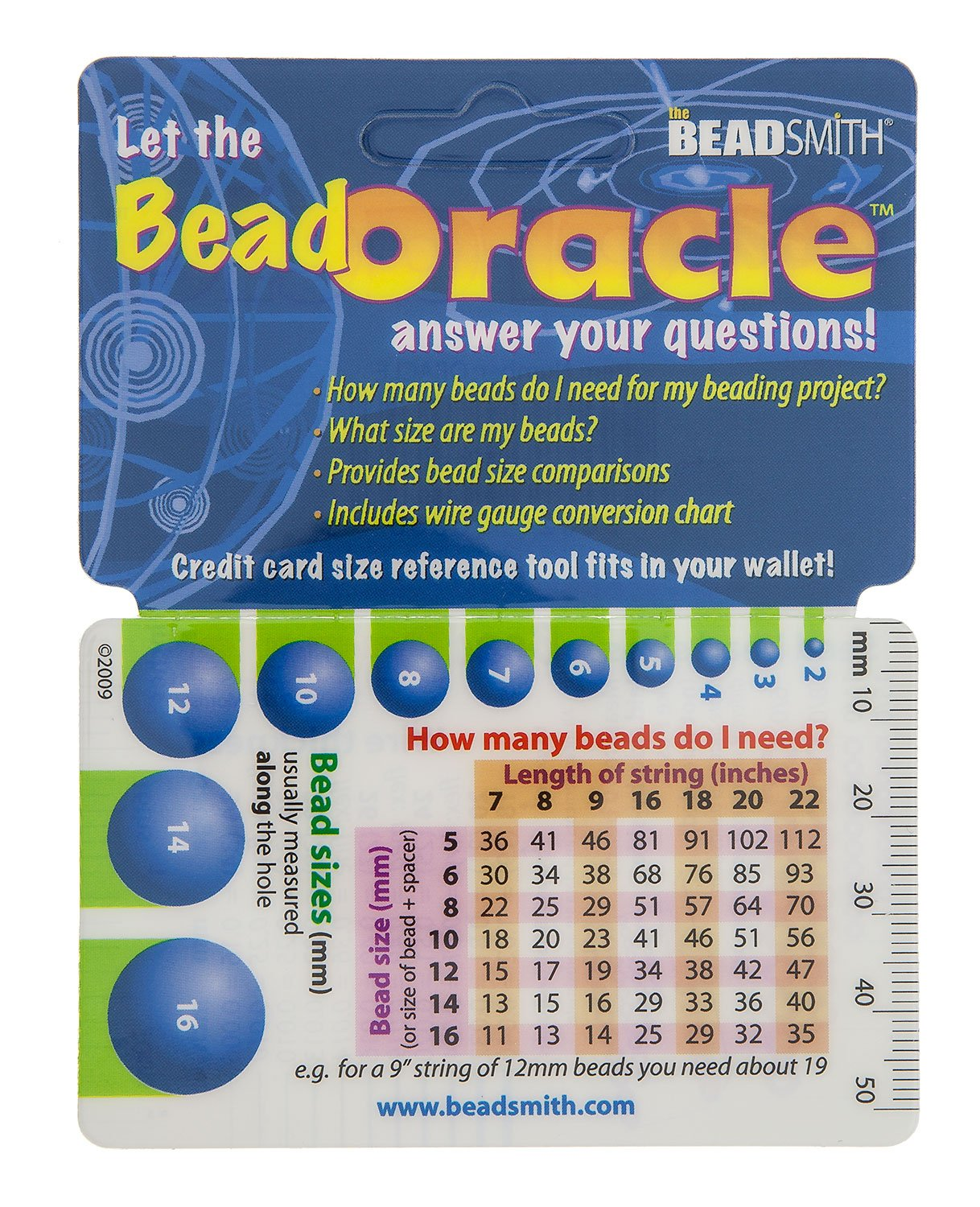 Bead Oracle Reference Card Bead and Wire Sizes, Ruler, Gauge ...