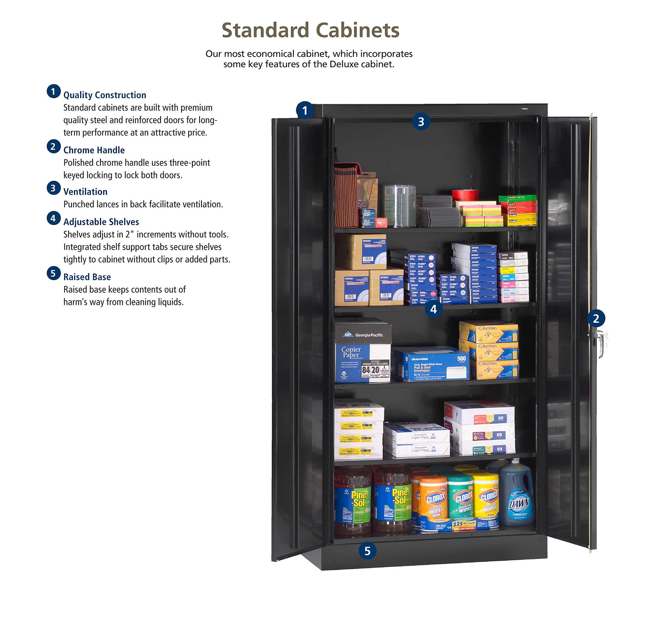 Tennsco 4218 24 Gauge Steel Standard Welded Counter High Cabinet, 2 Shelves, 150 lbs Capacity per Shelf, 36'' Width x 42'' Height x 18'' Depth, Black (Renewed) by Tennsco (Image #6)