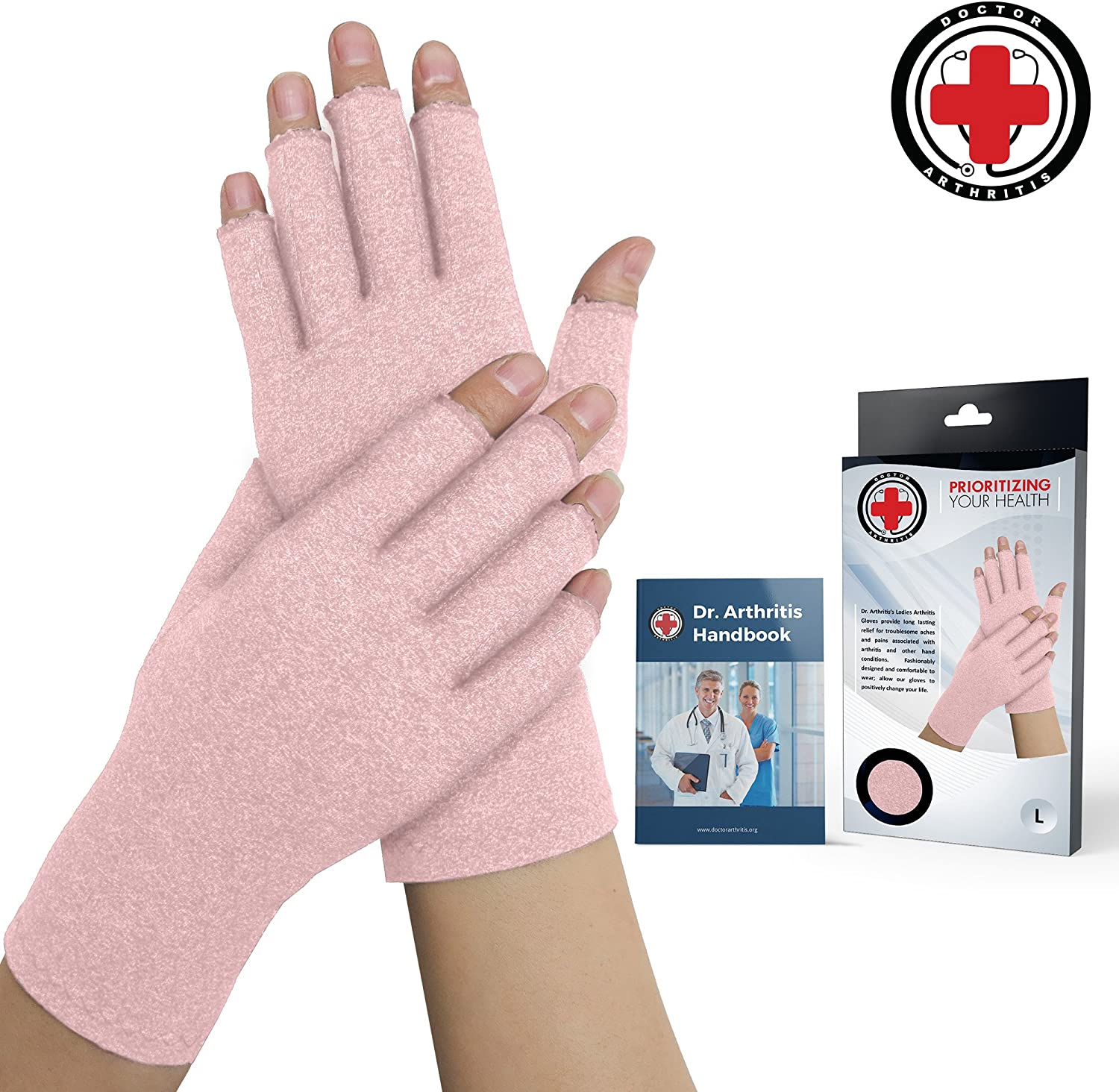 Doctor Developed Pink Ladies Arthritis Compression Gloves and Doctor Written Handbook -Relieve Arthritis Symptoms, Raynauds Disease & Carpal Tunnel (Medium)