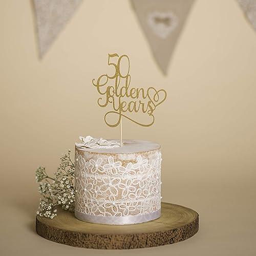 Wedding Anniversary Cake Topper 50 Golden Years Wedding
