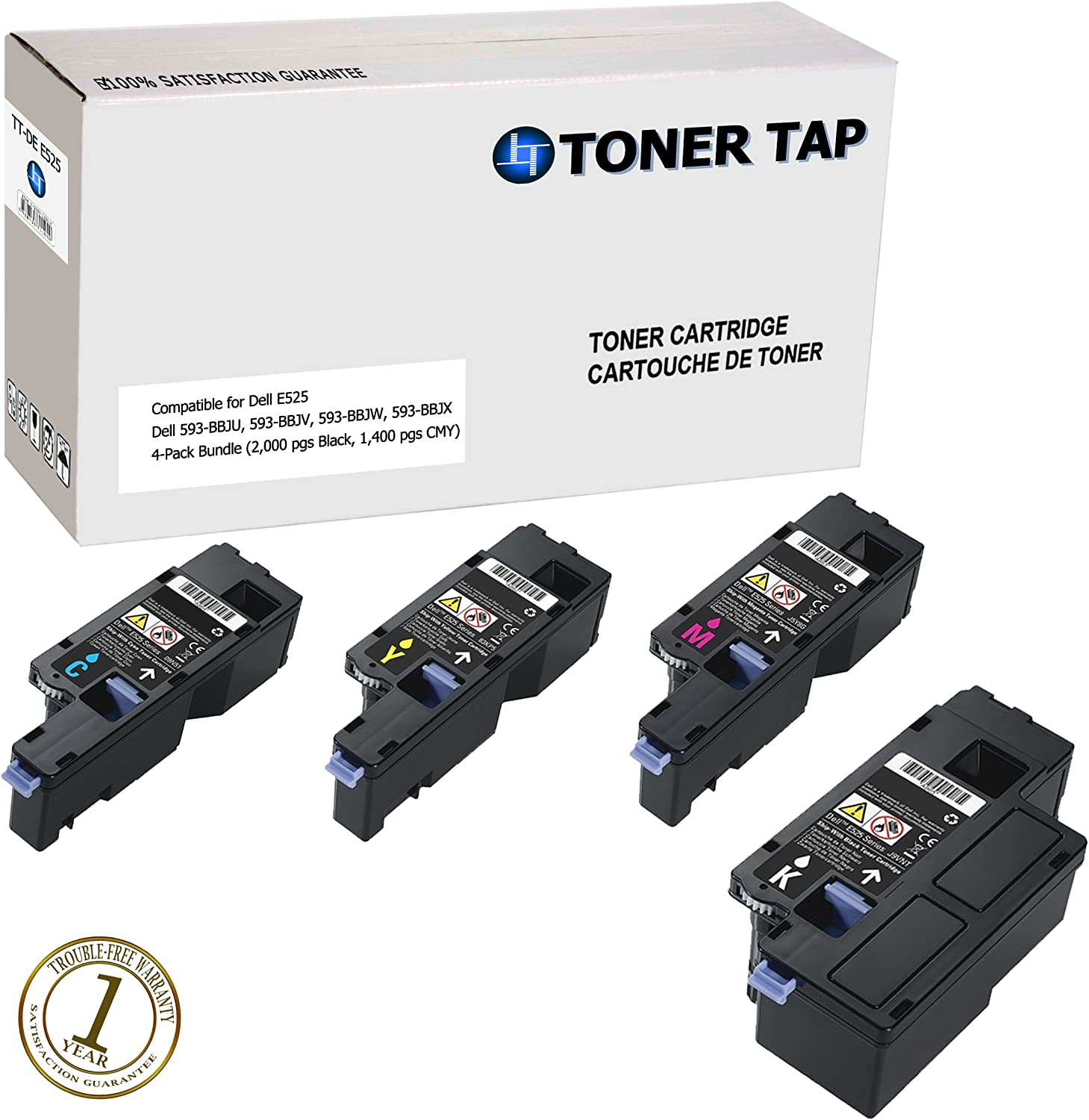 4 Pack Toner Tap Dell E525W Compatible Toner Set for Dell E525W Color Laser All-in-One Multifunction Wireless and Cloud Ready Printer