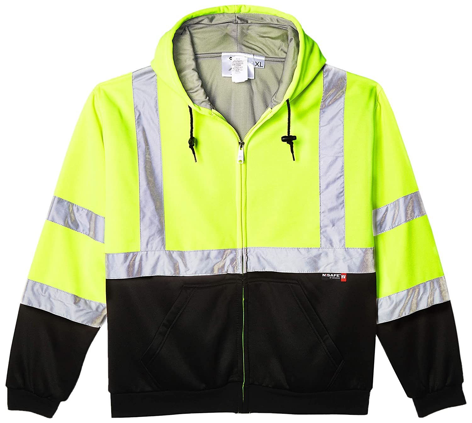 Yellow//Black Class 3 Zip-up Majestic Glove 75-5331//X1 High Visibility Weight Hoodie with Teflon X-Large