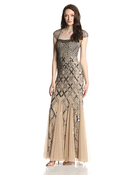 Women's Cap-Sleeve Beaded Gown