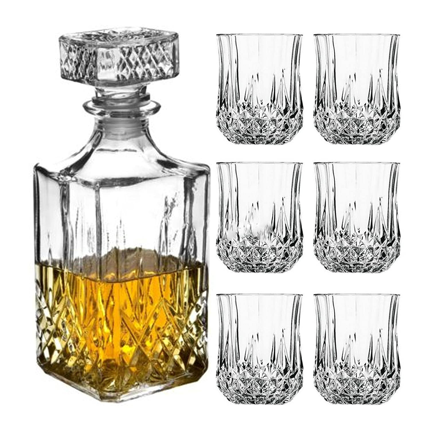 6 x 200ml Glass Whiskey Wine Tumblers & Square Glass Decanter Bottle Boxed Set Alcohol Decanter