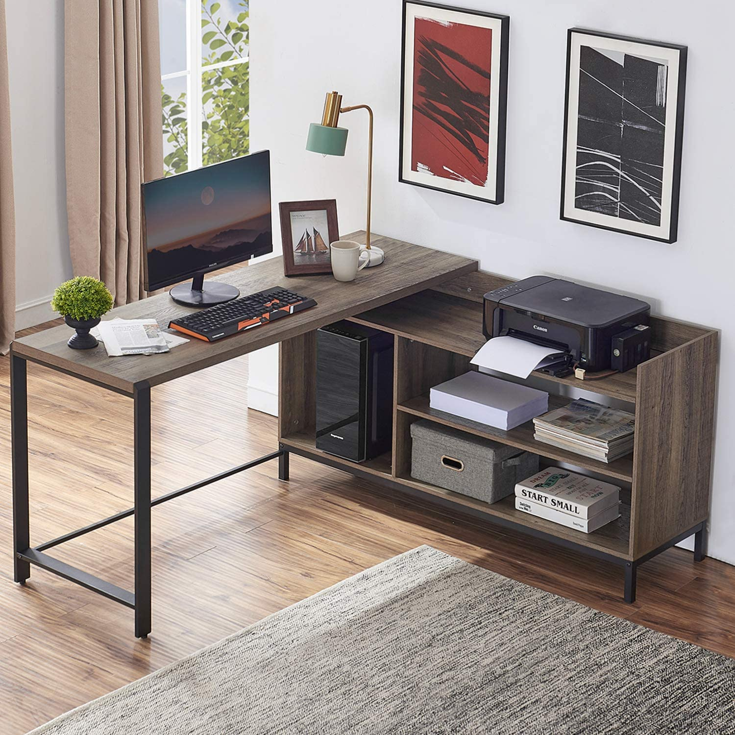 FELLYTN Rustic Industrial L Shaped Desk, 59 Inch Wood and Metal Study Corner Desk, Office Writing Workstation with Shelves and File Cabinet for Home Office (Gray Oak)