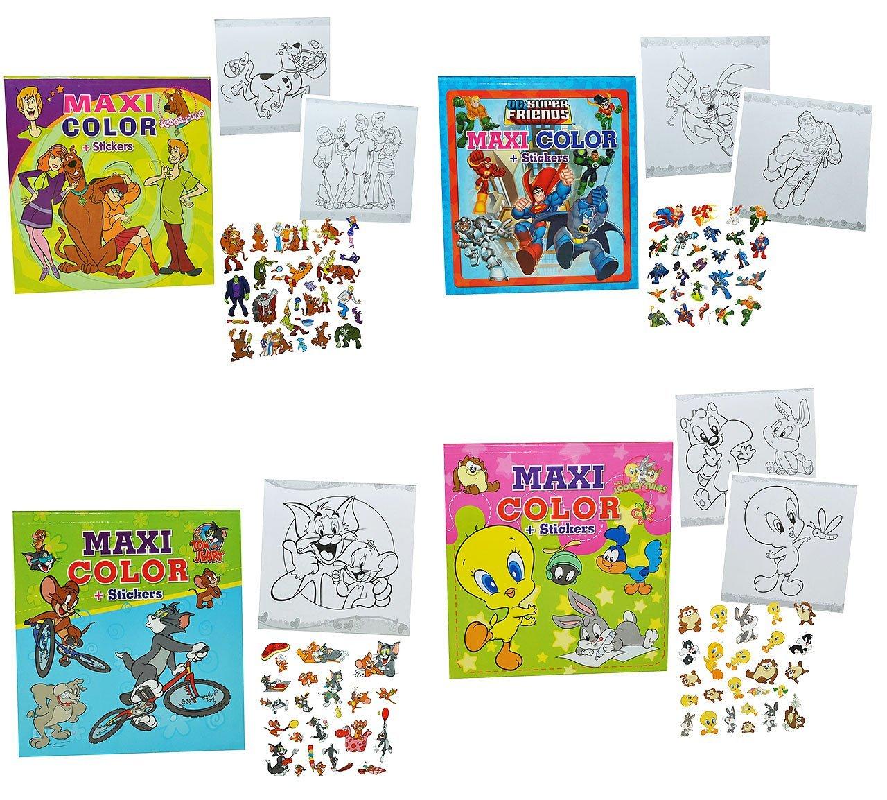 3 Stück: Malbuch / Malblock große Bilder mit 25 Sticker - Looney ...
