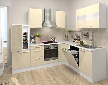 respekta Bloque vacío de la Cocina Premium Cocina L 260 x 200 cm Corpus Blanco Frentes Vainilla Alto Brillo: Amazon.es: Hogar