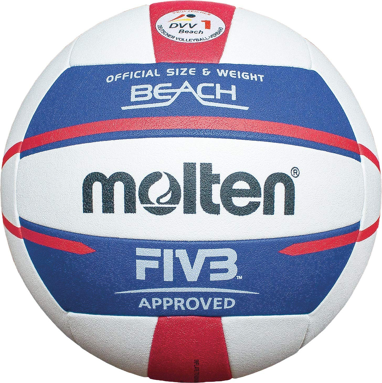 Molten Europe V5B5000-DE Ballon de Beach-Volley Mixte Adulte, Blanc/Bleu/Rouge, 5