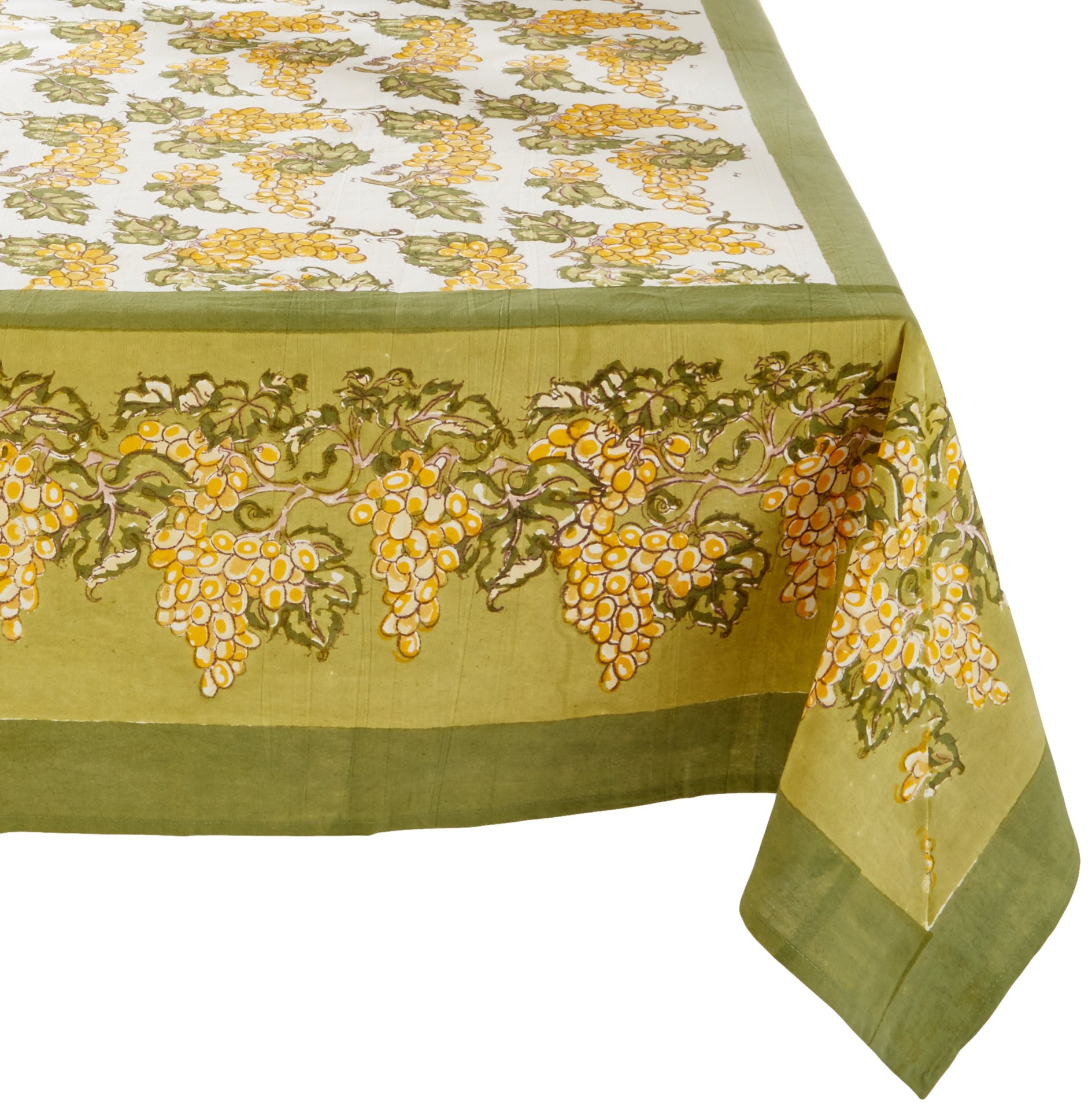 Couleur Nature Grapevines Tablecloth, 90 by 90'', Yellow/Green