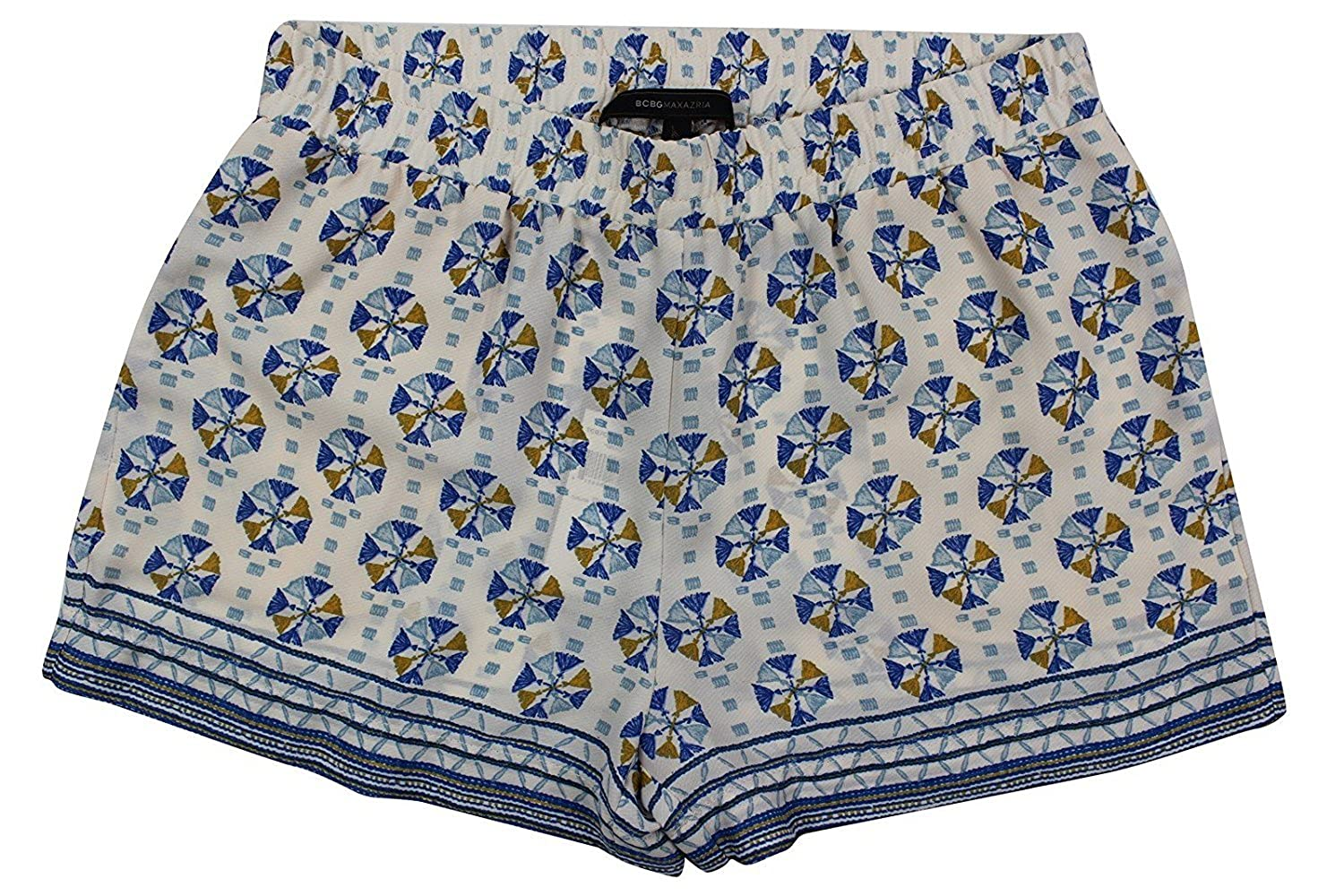 BCBGMAXAZRIA Women's Ivory Blue Floral Border Print Sheer Shorts