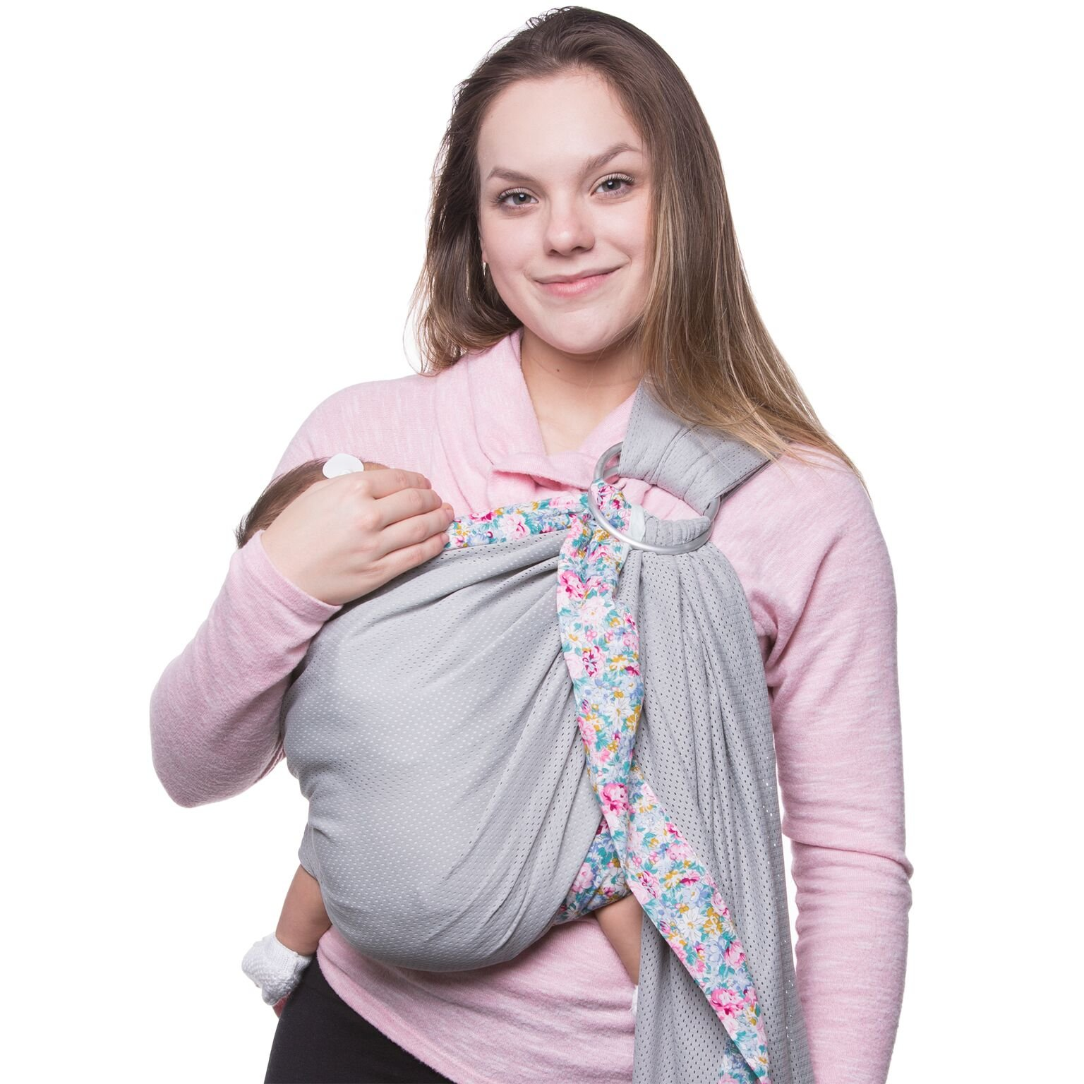 Baby Wrap Carrier Cotton Water Baby Sling Carrier for 0-18 Month Infants & Toddlers, Breathable, Comfy Breastfeeding Nursing Cover  Cute Floral Newborn Carrier  Top Baby Shower Gift Pink Sandesica
