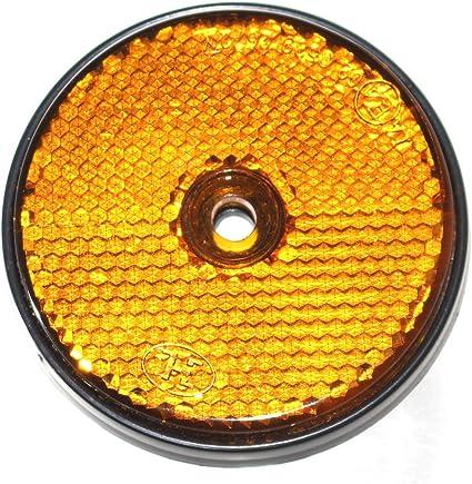 Old Harvest 12x Reflektor Mit Loch Rund 60mm Für Anhänger Pritsche Trailer Krad Rückstrahler Markierung Neu Gelb Auto