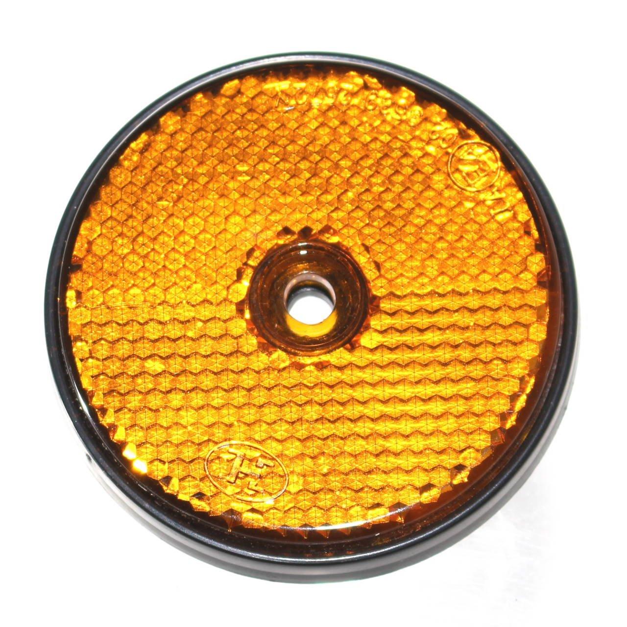 DKB Reflektor Rund /Ø 60 mm R/ückstrahler Orange f H/änger Trailer Reflektor Katzenauge