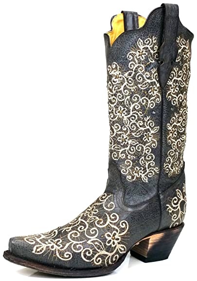 7d49bb7a33a Corral R1408 Gray Floral Embroidered Boots with Studs and Stones (6)