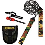 "SOS Gear Pocket Chainsaw and Fire Starter - Survival Hand Saw, Firestarter with Built in Compass & Whistle, Embroidered Pouch for Camping & Backpacking - Camo Straps, 24"" or 36"" Chain"