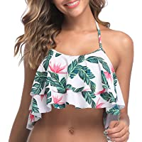 Tempt Me Women Bikini Swimsuit Halter Ruffled Flounce Top Flower S