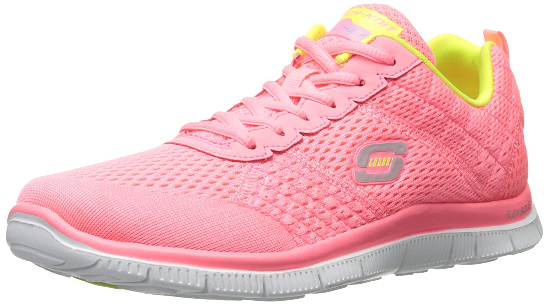 Skechers Sport Women's Obvious Choice Fashion Sneaker B00MXVG7HO 5 B(M) US|Pink Mesh/Yellow Trim