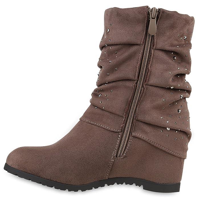 Damen Keilstiefeletten Strass Stiefeletten Schuhe 121385 Khaki 39 Flandell C8Tjk