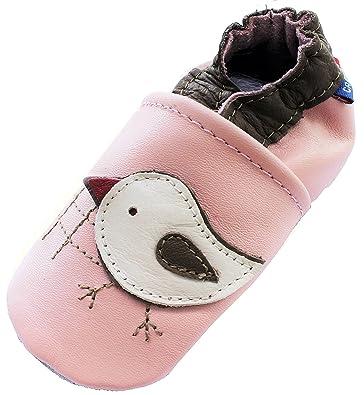 65f65dc47c359 Carozoo Chicky Rose Cuir Semelle Souple pour bébé Infant Enfants Chaussures  Chaussons Chaussons - Rose -