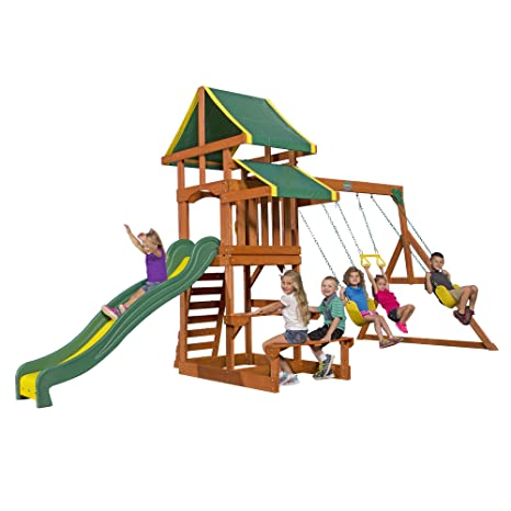 Image Unavailable - Amazon.com: Backyard Discovery Tucson All Cedar Wood Playset Swing