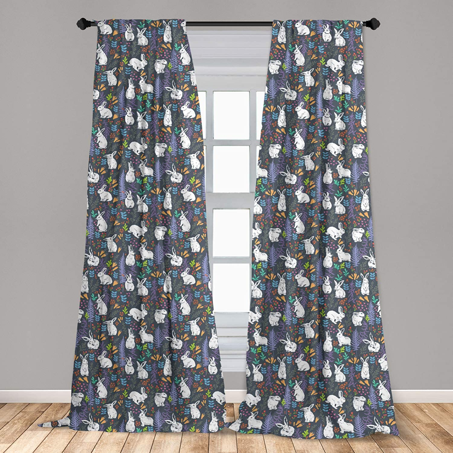 """Lunarable Rabbit 2 Panel Curtain Set, White Bunnies Among Leaves Branches Flowers and Carrots Pastel Color Illustration, Lightweight Window Treatment Living Room Bedroom Decor, 56"""" x 63"""", Blue Grey"""