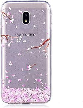 BoxTii Coque pour Galaxy J3 2017, iPhone 6S Silicone Coque Fleurs Housse Transparent Etui pour Samsung Galaxy J3 2017 (Fleur #2)