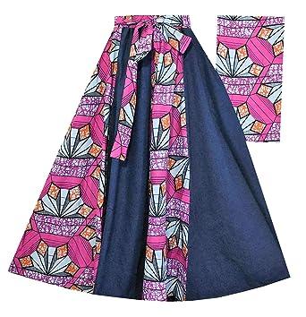 eb50558ca Amazon.com: Decoraapparel Long Denim Dashiki Wax Skirts High Waist Maxi  Jeans Ankara Print Plus Size: Clothing