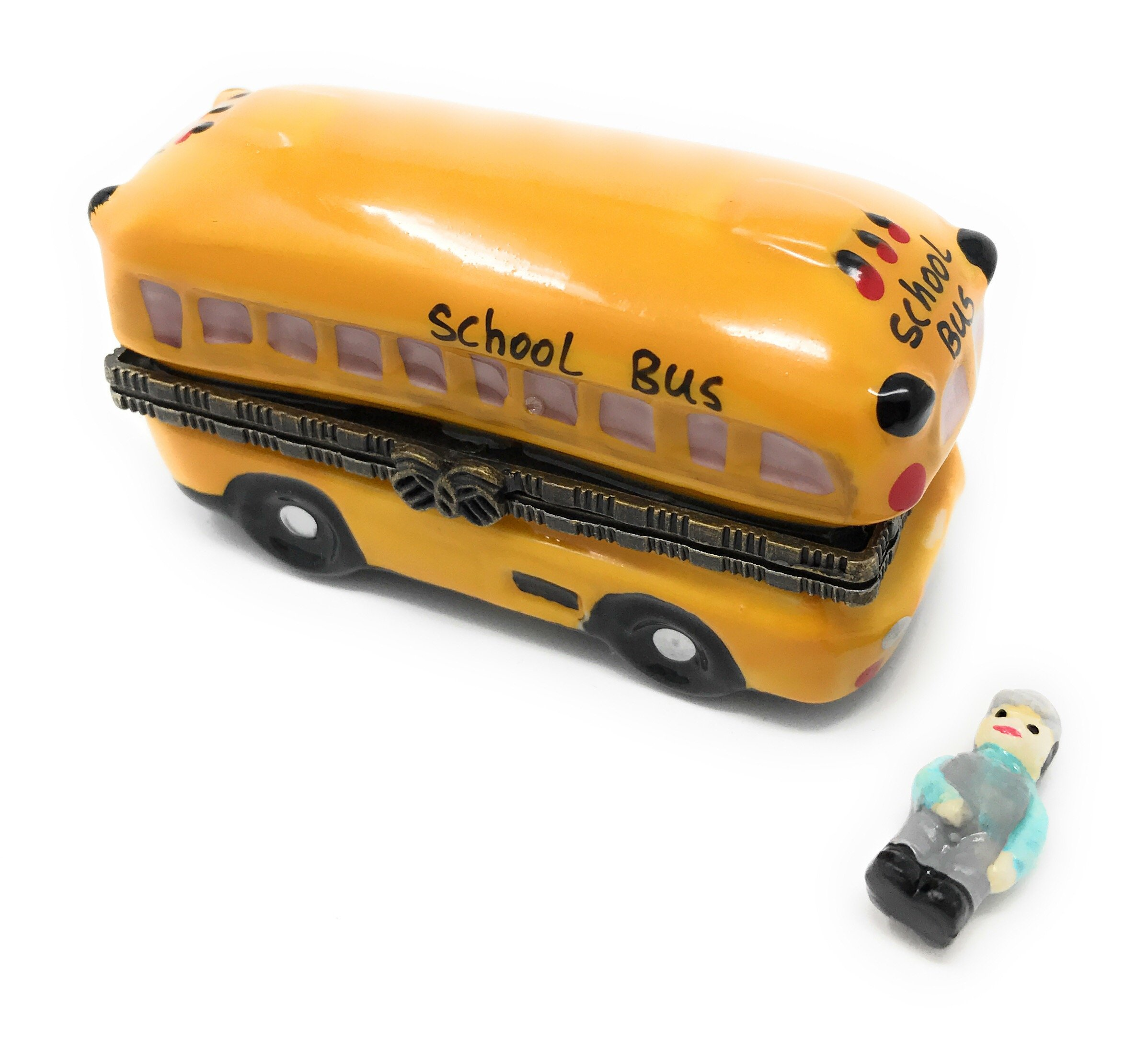 Porcelain Yellow School Bus Hinged Trinket Box with Tiny Trinket Inside, 2.875 Inches Long