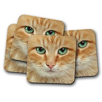 Juego de 4 posavasos con cara de gato de jengibre, ojos verdes, bonito regalo #15007: Amazon.es: Hogar