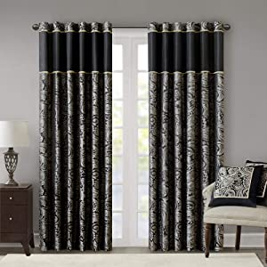 "Black Curtains For Living Room , Traditional Back Tab Curtains For Bedroom , Aubrey Jacquard Rod Pocket Window Curtains , 50x84"", 2-Panel Pack"