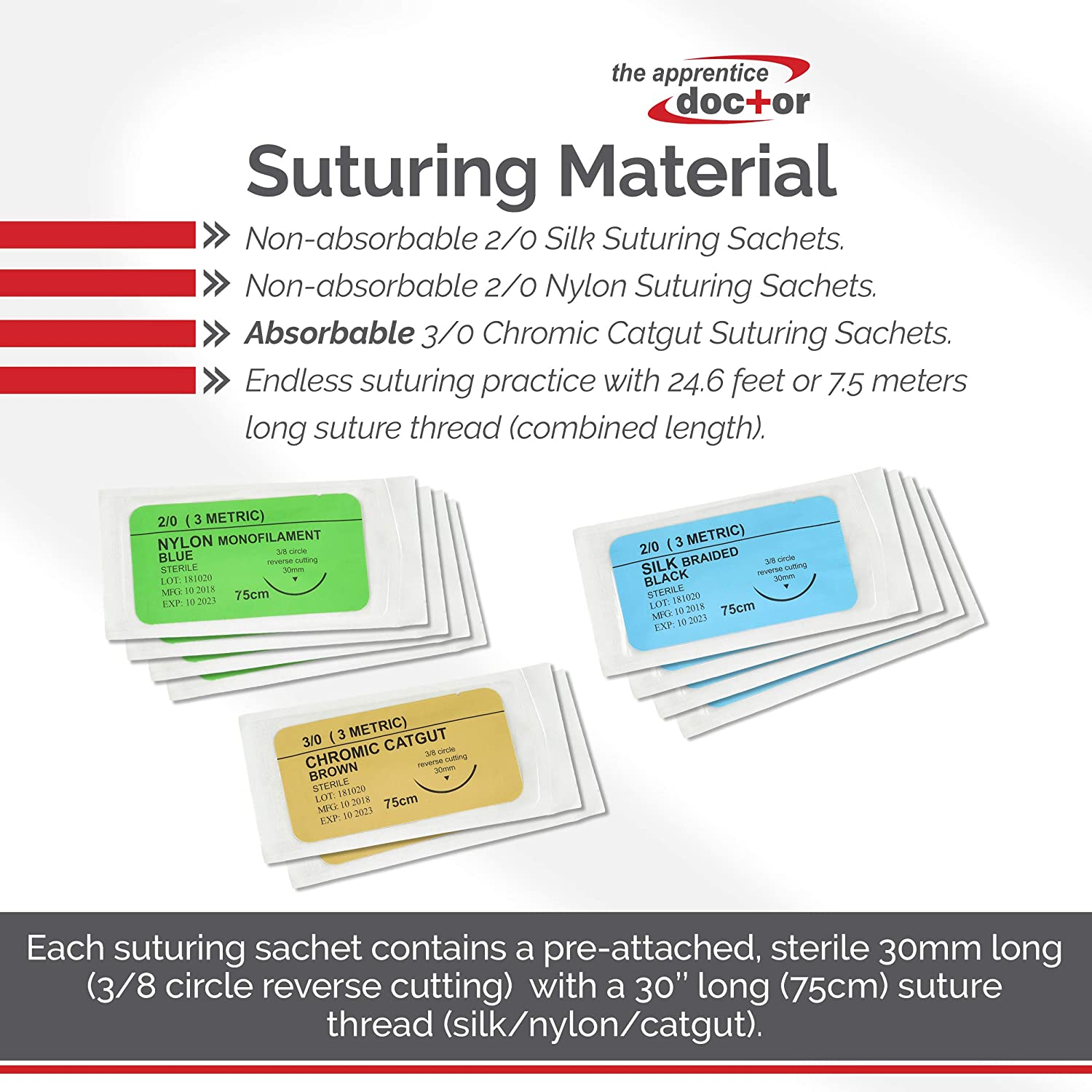 The Apprentice Doctors Suture Practice Kit with How-to Suture Video Training Course