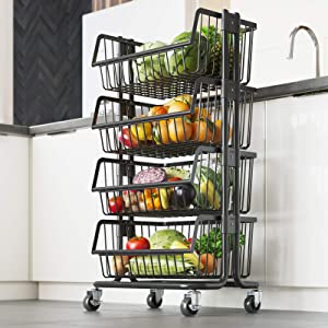 LIVOD 4-Tier Stainless Steel Mobile Utility Cart with Caster Wheels, Kitchen Standing Bakers Rack Fruit and Vegetable Shelves Rolling Wire Storage Baskets for Pantry, Lockable Utility Trolley (Black)